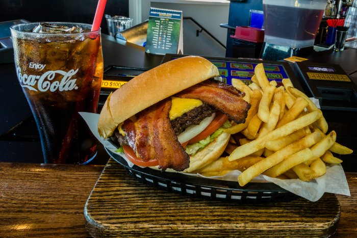 Giant burger, fries, and soda